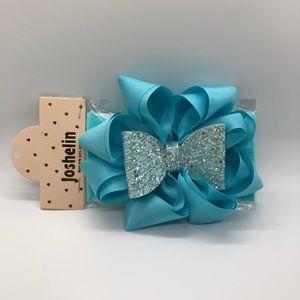 Joshelin Blue Glitter Bow Headband
